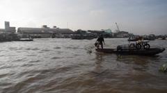 Floating Market in Vietnam Stock Footage