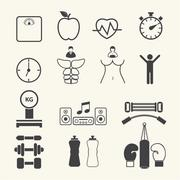 Health and Fitness icons. Vector - stock illustration