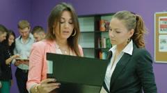 Portrait of two beautiful business women Stock Footage