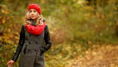 Fashion, blond girl smoking in park Stock Footage