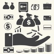 Finance and business icons set on texture background. Vector Stock Illustration