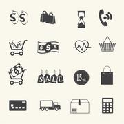 Shopping icons set on texture background. Vector - stock illustration