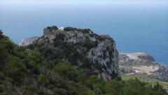 Rhodes, Greece. Zoom out from Monolithos Castle to panorama of the coastline. Stock Footage