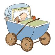 baby boy in retro stroller isolated on white background - stock illustration