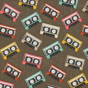 seamless background with vintage analogue music recordable cassettes - stock illustration