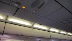 mist from air conditioner in the aircraft cabin - stock footage