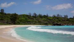 Stock Video Footage of sandy beach at Seychelles islands. La Digue, Anse Cocos
