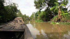 Stock Video Footage of Wooden boat on the Mekong River