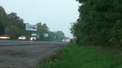 Looking from side of road on highway Stock Footage
