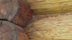 Close-up view of the corners of the cabin log house tenon Stock Footage