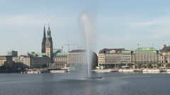 Hamburg Panorama - Alster Lake with fountain Stock Footage