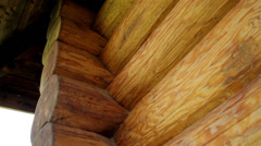 310 closeup view of the corners of the cabin log house tenon Stock Footage