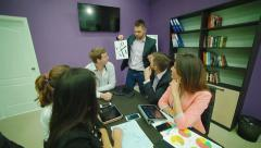 Coach explains team basis of the CASHFLOW Quadrant - stock footage