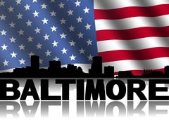 baltimore skyline and text reflected with rippled american flag illustration - stock illustration