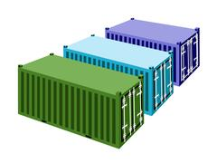 Stock Illustration of Three Freight Containers on A White Background