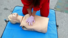 Stock Video Footage of CPR demonstration