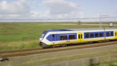 Dutch Railway Sprinter passing Stock Footage