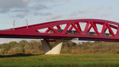 Dutch Railways train passing IJsselbrug Zwolle Stock Footage
