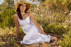 Stock Photo of girl with white long dress