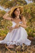 girl with white long dress - stock photo