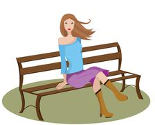 woman on bench - stock illustration