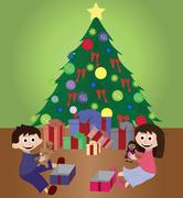 Twins opening Christmas gifts Stock Illustration