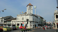 Stock Video Footage of Promthep Clock Tower in Old Phuket Town.