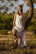 Girl with white long dress Stock Photos