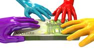 Stock Illustration of hands colorful grabbing at euro notes