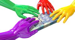 Hands colorful grabbing at south african rands Stock Illustration