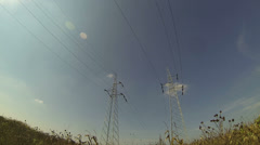 High Voltage AC Transmission Towers Stock Footage
