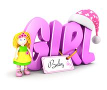 3d word girl concept Stock Illustration