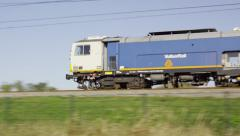 Stopmachine for railroad track maintenance Stock Footage