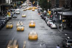 New York City yellow taxi street scene Stock Photos