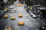 New York City yellow taxi street scene Stock Photos