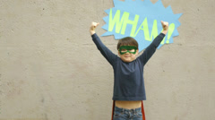 Superhero Boy Flexes Muscles - stock footage
