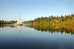 Stanley Park, Lost Lagoon Fountain, Vancouver Stock Photos