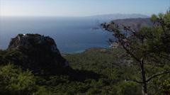 Greece. Panoramic view of Rhodes coastline, Aegean Sea and the Monolithos Castle Stock Footage