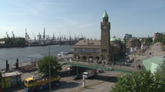Hamburg, Piers  at the famous Port of Hamburg Stock Footage