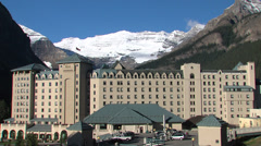 Hotel on Lake Louise Stock Footage