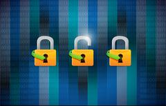 unsecured and secured concept illustration - stock illustration