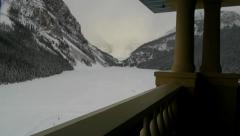 Lake Louise in Winter from upper hotel balcony Stock Footage
