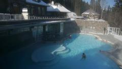 Banff Hot Mineral Hotsprings in Winter Stock Footage