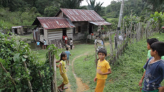 Jungle Kids in the Village, Indonesia Stock Footage
