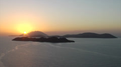 Sunset over Chalki and Alimia islands. View from Kritinia castle, Rhodes, Greece Stock Footage