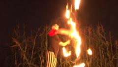 Double Ring Fire Dancer Stock Footage