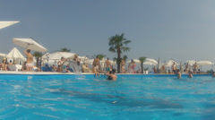 People take  a rest in the pool Stock Footage