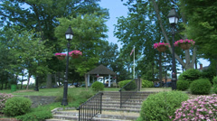 Views of a lush town square (5 of 6) Stock Footage