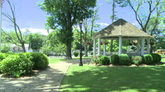Views of a lush town square (6 of 6) Stock Footage