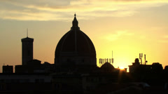 Sunset behind of the Duomo of Florence Stock Footage